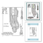 Spellbinders - PA Scribe Collection - Cling Mounted Rubber Stamps - New York Map