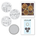 Spellbinders - The Altered Page Collection - Die and Cling Mounted Rubber Stamps - Word Circles 1
