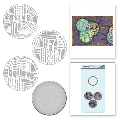 Spellbinders - The Altered Page Collection - Die and Cling Mounted Rubber Stamps - Word Circles 2