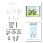 Spellbinders - Happy Grams 2 Collection - Die and Cling Mounted Rubber Stamps - Posie Parts