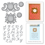 Spellbinders - Rouge Royale Deux Collection - Die and Cling Mounted Rubber Stamps - Royale Monogram Set
