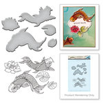 Spellbinders - Earth Air Water Collection - Die and Cling Mounted Rubber Stamps - Koi