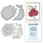 Spellbinders - Earth Air Water Collection - Die and Cling Mounted Rubber Stamps - Chrysanthemum