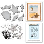 Spellbinders - Earth Air Water Collection - Die and Cling Mounted Rubber Stamps - Starfish