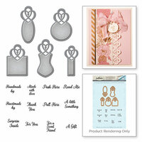 Spellbinders - Vintage Elegance Collection - Die and Cling Mounted Stamps - Graceful Tiny Tags