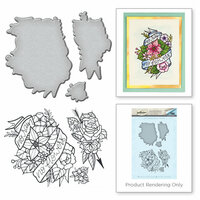 Spellbinders - Spring Love Collection - Die and Cling Mounted Rubber Stamps - No Rain