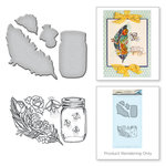 Spellbinders - Spring Love Collection - Die and Cling Mounted Rubber Stamps - Feather Fireflies