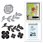 Spellbinders - Joyous Celebrations Collection - Die and Cling Mounted Rubber Stamps - Floral Set