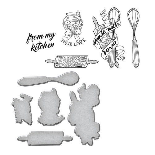 Spellbinders - Sew Handmade Collection - Die and Cling Mounted Stamps - Kitchen Collection