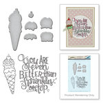 Spellbinders - Happy Grams 3 Collection - Die and Cling Mounted Stamps - Ice Cream Cone