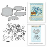 Spellbinders - Happy Grams 3 Collection - Die and Cling Mounted Stamps - Happy Birthday Cake