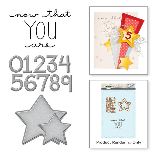 Spellbinders - My Little Red Wagon Collection - Die and Cling Mounted Stamps - Count the Stars