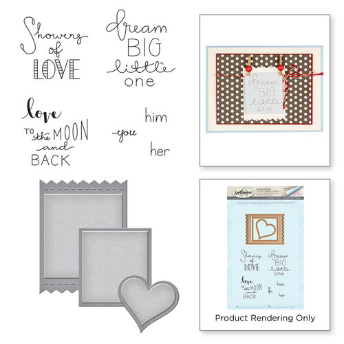 Spellbinders - My Little Red Wagon Collection - Die and Cling Mounted Stamps - Labels of Love