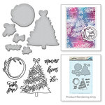 Spellbinders - Holiday Collection - Christmas - Die and Cling Mounted Stamps - Open Me