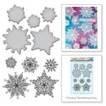 Spellbinders - Holiday Collection - Christmas - Die and Cling Mounted Stamps - Snowflakes