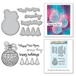 Spellbinders - Holiday Collection - Christmas - Die and Cling Mounted Stamps - Happy Holiday Ornaments