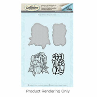 Spellbinders - Cool Vibes Collection - Die and Cling Mounted Stamps - Peony