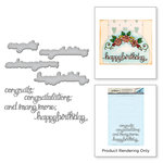 Spellbinders - Happy Grams 4 Collection - Die and Cling Mounted Stamps - Sentiments I