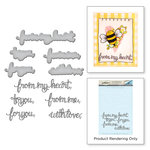 Spellbinders - Happy Grams 4 Collection - Die and Cling Mounted Stamps - Sentiments II