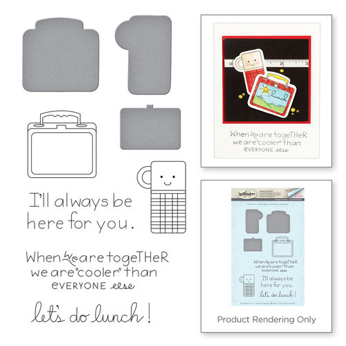 Spellbinders - Love Set Match Collection - Die and Cling Mounted Stamp Set - Lunch Bunch