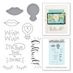 Spellbinders - Love Set Match Collection - Die and Cling Mounted Stamp Set - Wink Wink