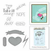 Spellbinders - Love Set Match Collection - Die and Cling Mounted Stamp Set - Thats Dope