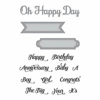 Spellbinders - Elegant 3D Cards Collection - Die and Cling Mounted Stamps - Oh Happy Day