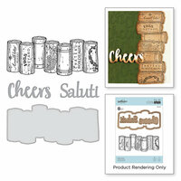 Spellbinders - Wine Country Collection - Die and Cling Mounted Stamps - Wine Corks