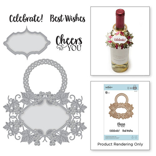 Spellbinders - Wine Country Collection - Die and Cling Mounted Stamps - Vineyard Wine Bottle Tag