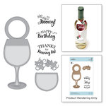 Spellbinders - Wine Country Collection - Die and Cling Mounted Stamps - Wine Glass Bottle Tag