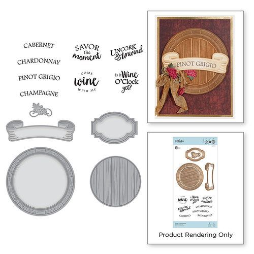 Spellbinders - Wine Country Collection - Die and Cling Mounted Stamps - Barrel of Sentiments