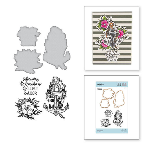 Spellbinders - Inked Messages Collection - Die and Cling Mounted Stamps - Rough Waters