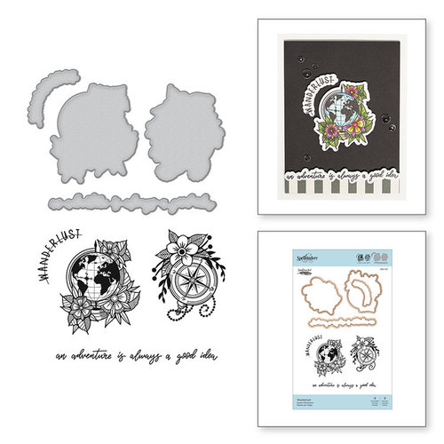 Spellbinders - Inked Messages Collection - Die and Cling Mounted Stamps - Wanderlust
