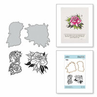 Spellbinders - Inked Messages Collection - Die and Cling Mounted Stamps - A Rose Any Other Name