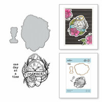 Spellbinders - Inked Messages Collection - Die and Cling Mounted Stamps - One Day At A Time