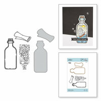 Spellbinders - Inked Messages Collection - Die and Cling Mounted Stamps - Message In A Bottle