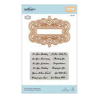 Spellbinders - Flourished Fretwork Collection - Etched Dies - All Occasion Sentiments