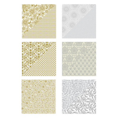 Spellbinders - Silver and Gold Collection - 12 x 12 Paper Pack
