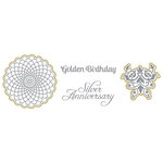 Spellbinders - Silver and Gold Collection - Die and Clear Acrylic Stamp Set - Golden Birthday