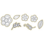 Spellbinders - Silver and Gold Collection - Die and Clear Acrylic Stamp Set - Gold Blooms