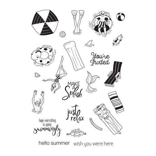 Fun Stampers Journey - Happy Place Collection - Cling Mounted Rubber Stamps - Make a Splash