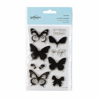 Spellbinders - Clear Acrylic Stamps - Layered Butterflies