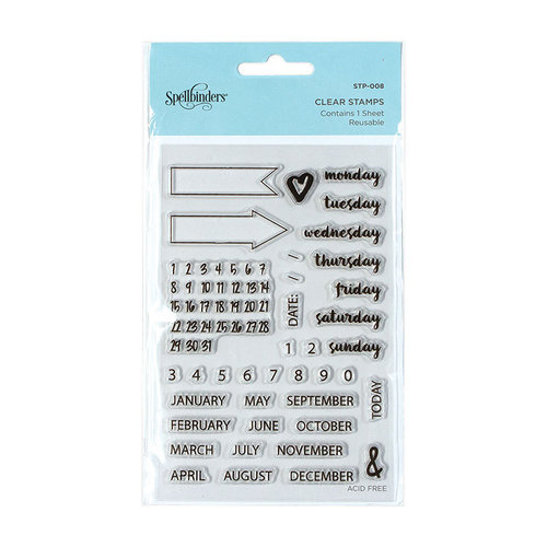 Spellbinders - Clear Acrylic Stamps - Planner Dates and Months