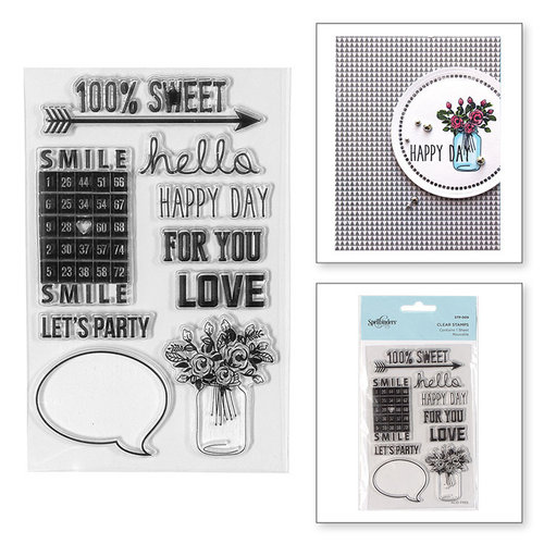 Spellbinders - Clear Acrylic Stamps - 100 Percent Sweet Sentiments