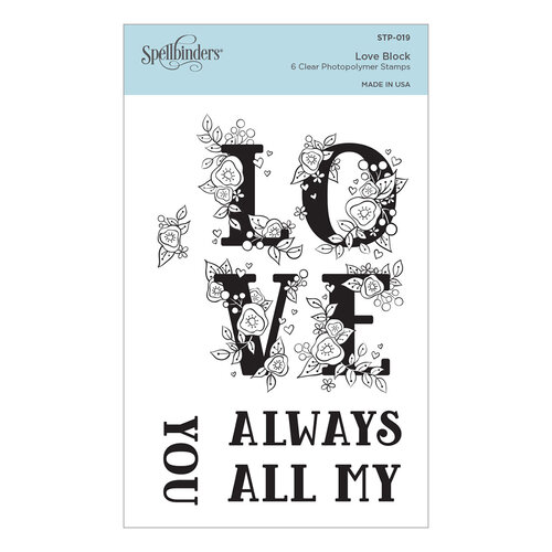 Spellbinders - Cardmaker Stamp Collection - Clear Photopolymer Stamps - Love Block
