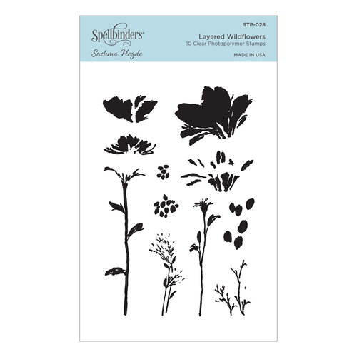 Spellbinders - Watercolor Florals Collection - Clear Photopolymer Stamps - Layered Wildflowers