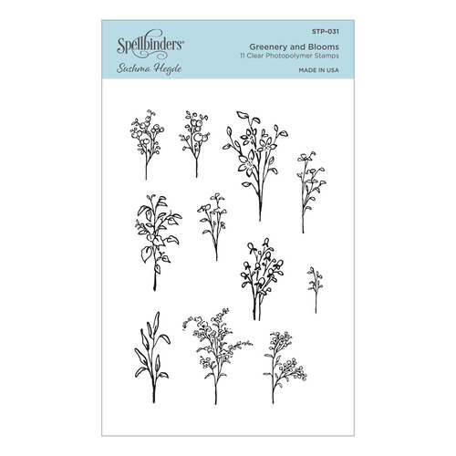 Spellbinders - Watercolor Florals Collection - Clear Photopolymer Stamps - Greenery and Blooms
