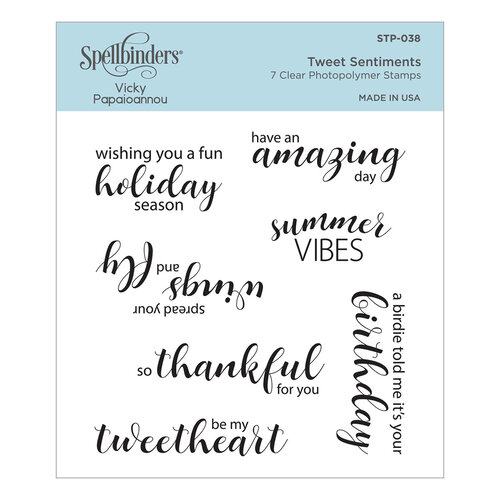 Spellbinders - Birdhouses Through The Seasons Collection - Clear Photopolymer Stamps - Tweet Sentiments