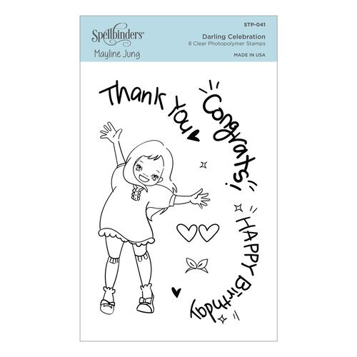 Spellbinders - Delightful Darlings Collection - Clear Photopolymer Stamps - Darling Celebration