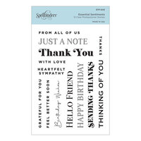 Spellbinders - Slimline Collection - Clear Photopolymer Stamps - Essential Sentiments